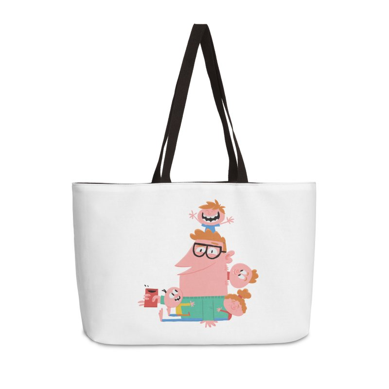 Dad has a Morning Coffee with Kids Accessories Weekender Bag Bag by amirabouroumie's Artist Shop