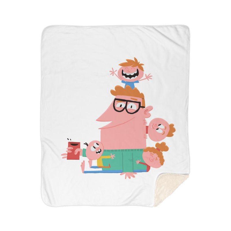 Dad has a Morning Coffee with Kids Home Sherpa Blanket Blanket by amirabouroumie's Artist Shop