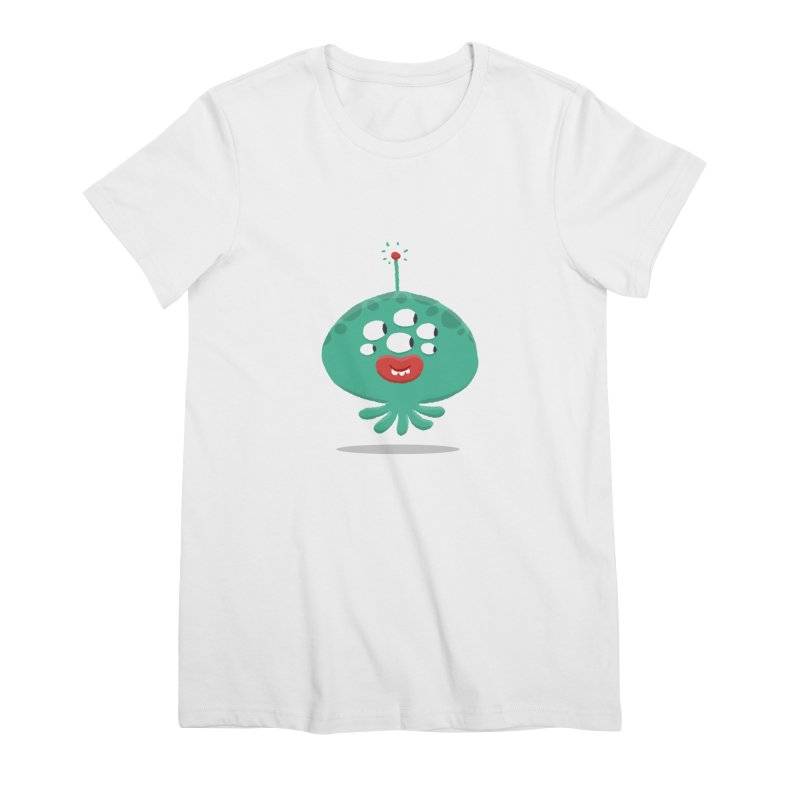 Alien Cartoon Illustration - It came from outer space Women's Premium T-Shirt by amirabouroumie's Artist Shop