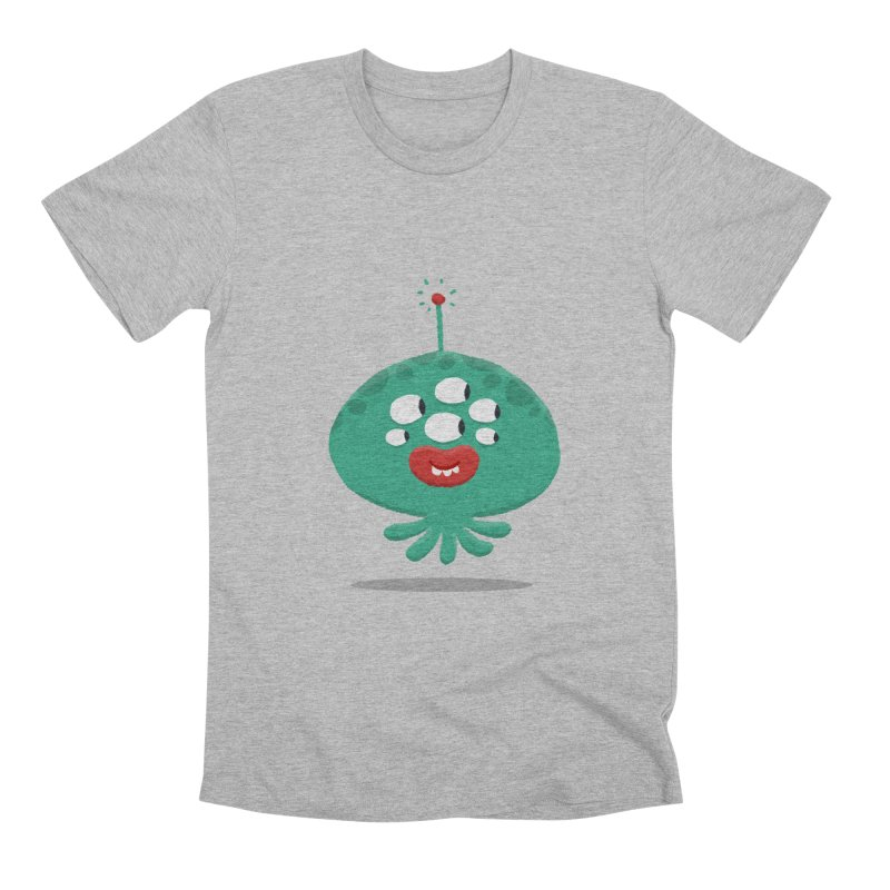 Alien Cartoon Illustration - It came from outer space Men's Premium T-Shirt by amirabouroumie's Artist Shop