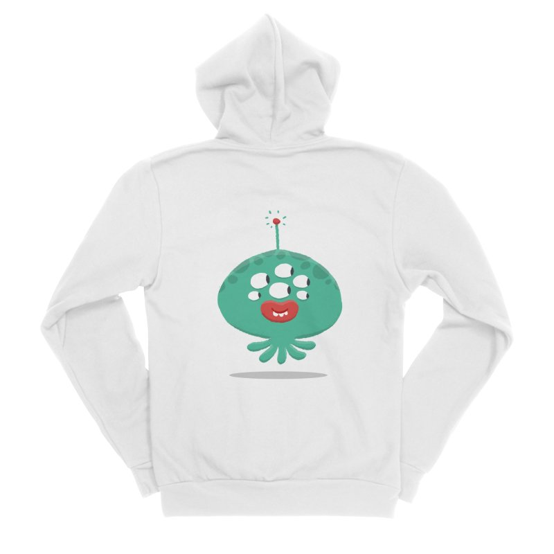 Alien Cartoon Illustration - It came from outer space Women's Sponge Fleece Zip-Up Hoody by amirabouroumie's Artist Shop