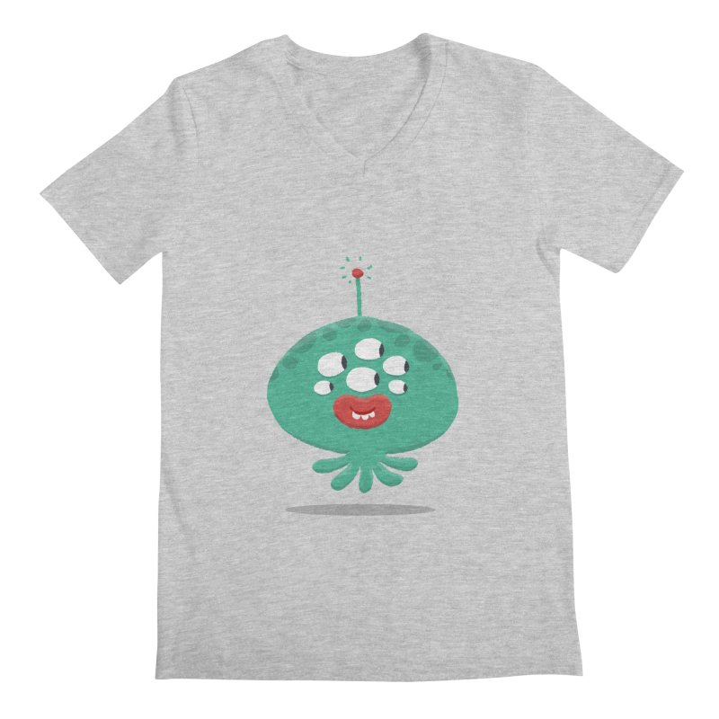 Alien Cartoon Illustration - It came from outer space Men's Regular V-Neck by amirabouroumie's Artist Shop