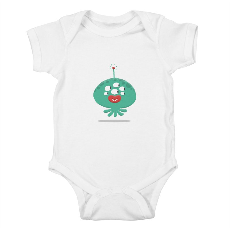 Alien Cartoon Illustration - It came from outer space Kids Baby Bodysuit by amirabouroumie's Artist Shop