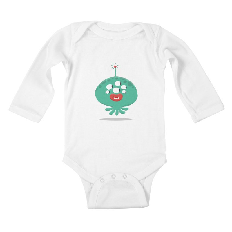 Alien Cartoon Illustration - It came from outer space Kids Baby Longsleeve Bodysuit by amirabouroumie's Artist Shop