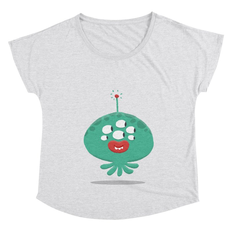 Alien Cartoon Illustration - It came from outer space Women's Dolman Scoop Neck by amirabouroumie's Artist Shop