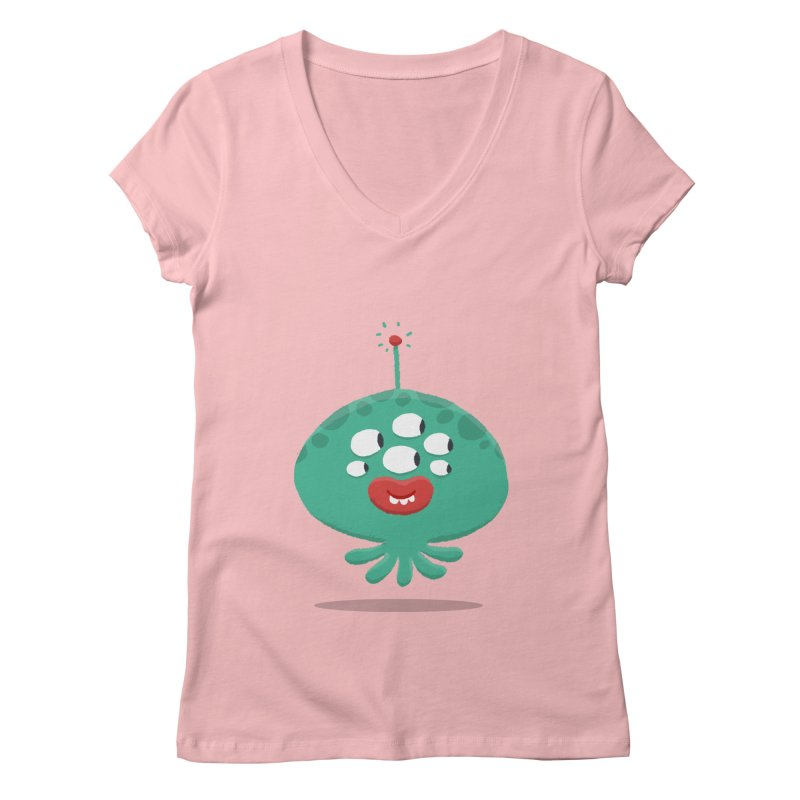Alien Cartoon Illustration - It came from outer space Women's Regular V-Neck by amirabouroumie's Artist Shop