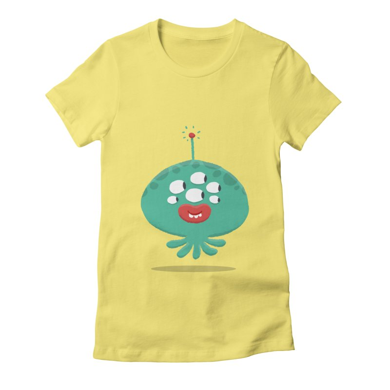 Alien Cartoon Illustration - It came from outer space Women's Fitted T-Shirt by amirabouroumie's Artist Shop
