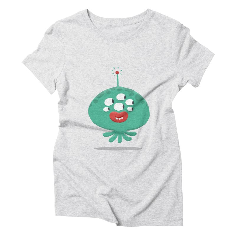 Alien Cartoon Illustration - It came from outer space Women's Triblend T-Shirt by amirabouroumie's Artist Shop
