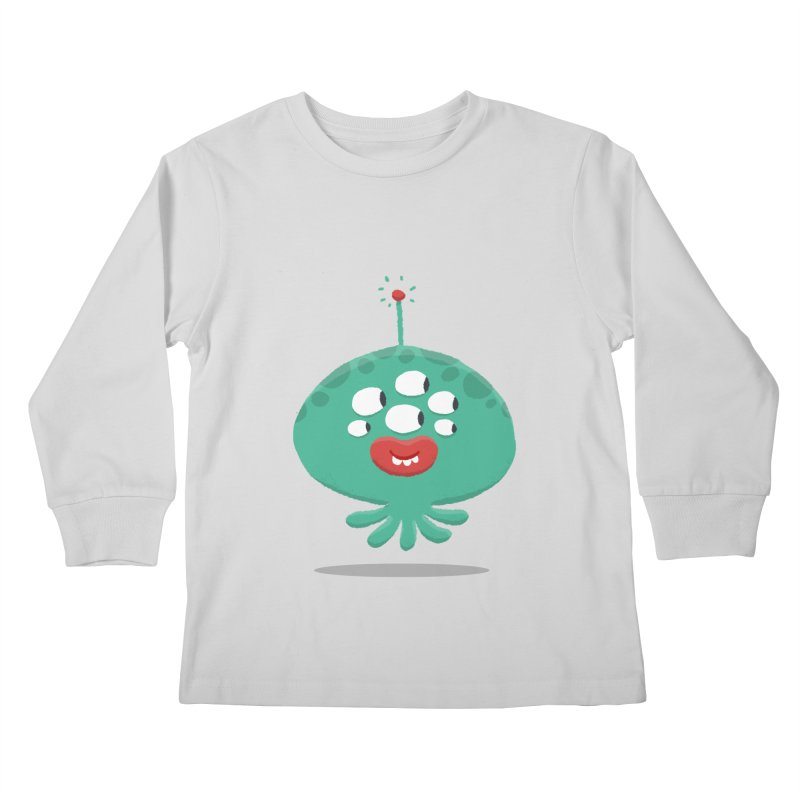 Alien Cartoon Illustration - It came from outer space Kids Longsleeve T-Shirt by amirabouroumie's Artist Shop