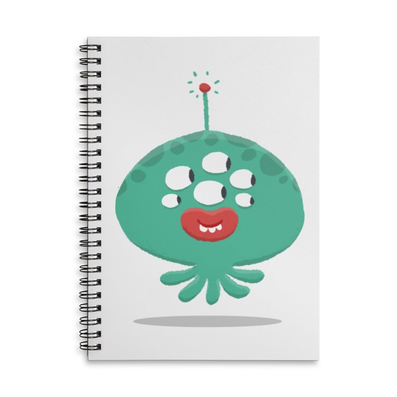 Alien Cartoon Illustration - It came from outer space Accessories Lined Spiral Notebook by amirabouroumie's Artist Shop