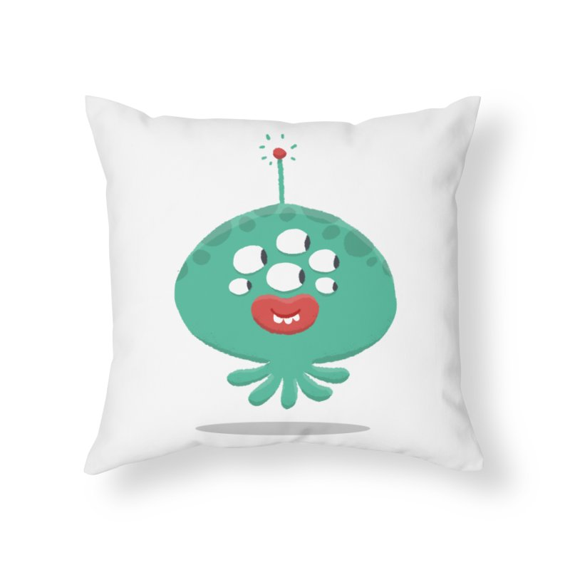 Alien Cartoon Illustration - It came from outer space Home Throw Pillow by amirabouroumie's Artist Shop