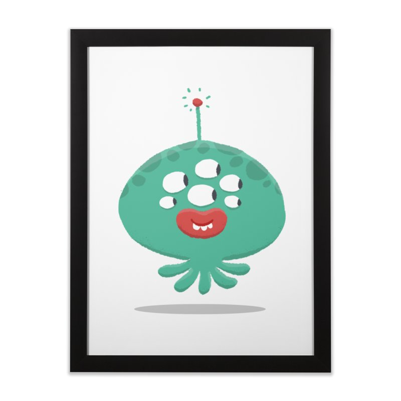 Alien Cartoon Illustration - It came from outer space Home Framed Fine Art Print by amirabouroumie's Artist Shop