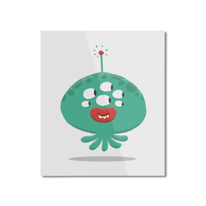 Alien Cartoon Illustration - It came from outer space Home Mounted Aluminum Print by amirabouroumie's Artist Shop