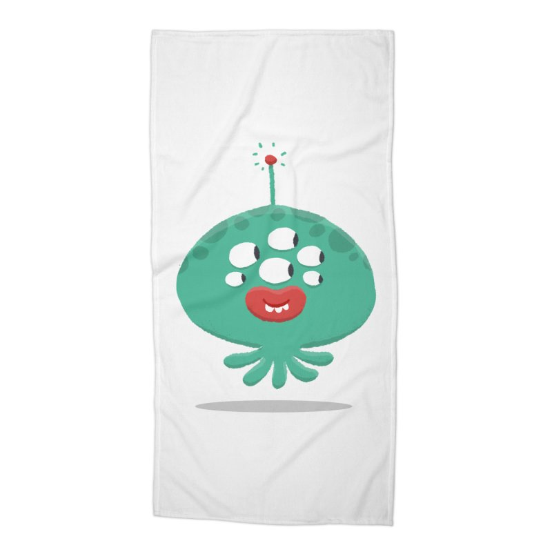 Alien Cartoon Illustration - It came from outer space Accessories Beach Towel by amirabouroumie's Artist Shop