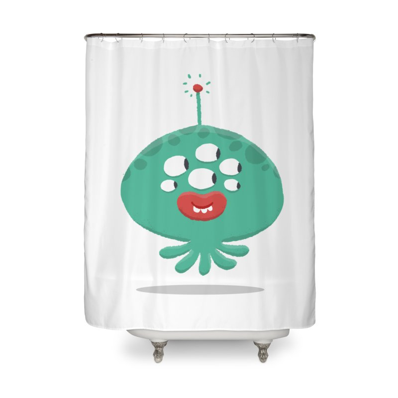 Alien Cartoon Illustration - It came from outer space Home Shower Curtain by amirabouroumie's Artist Shop