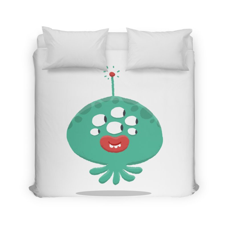 Alien Cartoon Illustration - It came from outer space Home Duvet by amirabouroumie's Artist Shop