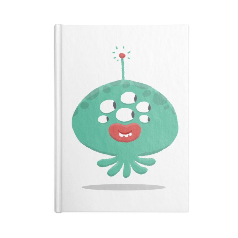 Alien Cartoon Illustration - It came from outer space Accessories Lined Journal Notebook by amirabouroumie's Artist Shop