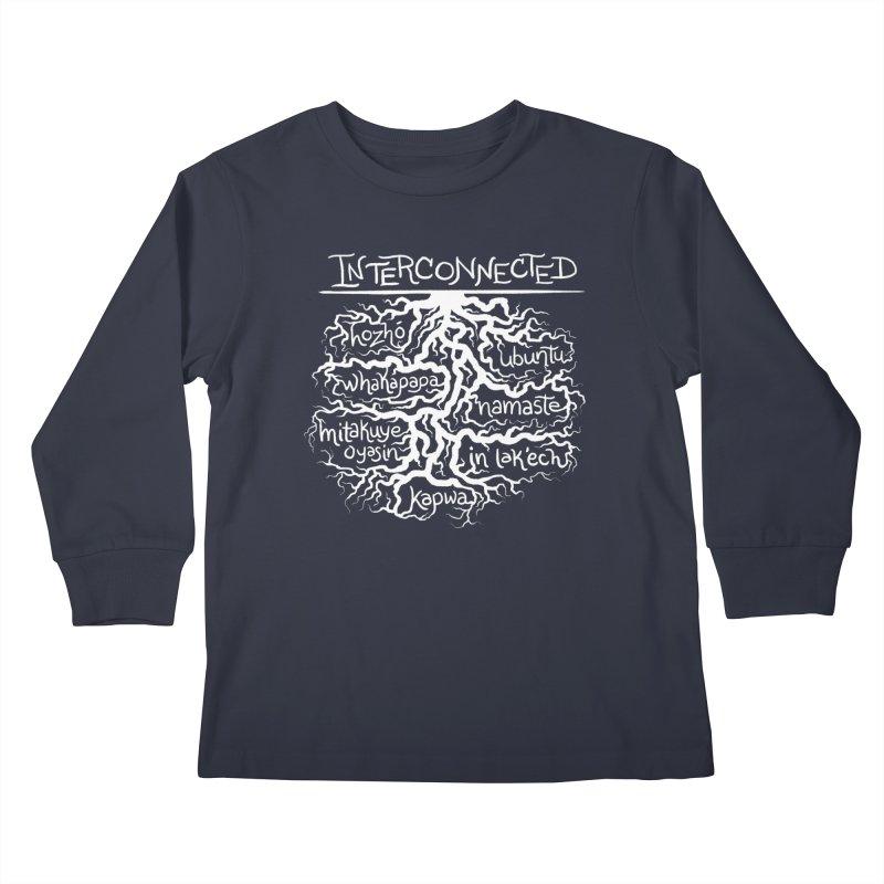 INTERCONNECTED (White) Kids Longsleeve T-Shirt by amplifyrj's Artist Shop
