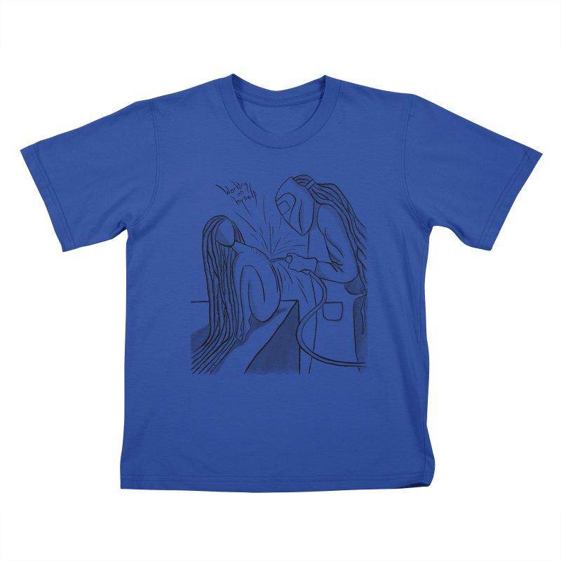 Working on Myself (Black) Kids T-Shirt by amplifyrj's Artist Shop