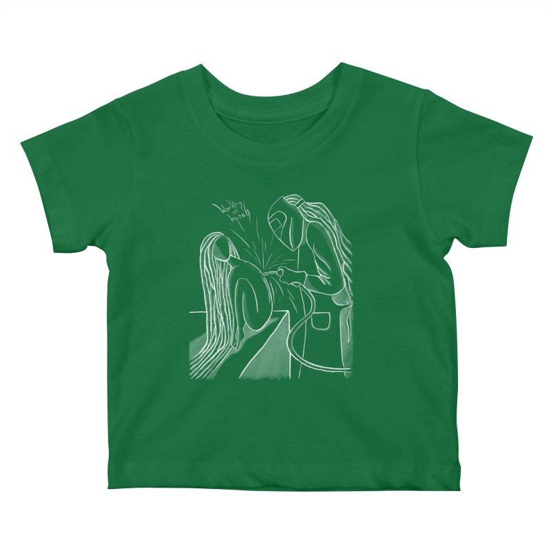 """Working on Myself"" (White) Kids Baby T-Shirt by amplifyrj's Artist Shop"