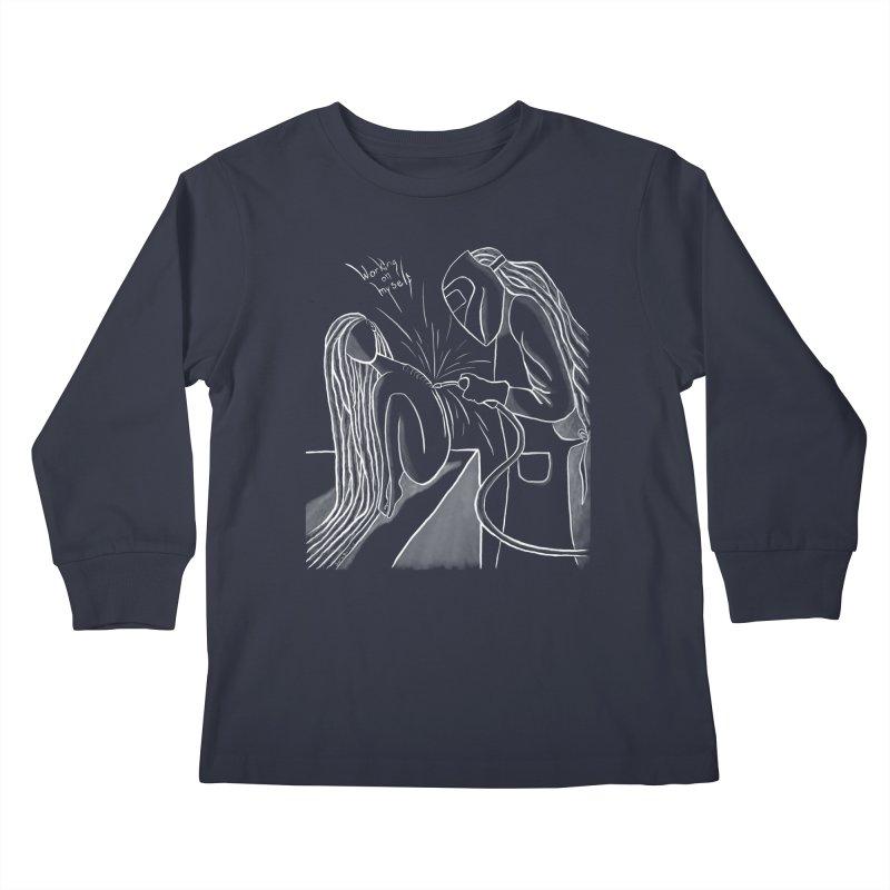 """Working on Myself"" (White) Kids Longsleeve T-Shirt by amplifyrj's Artist Shop"