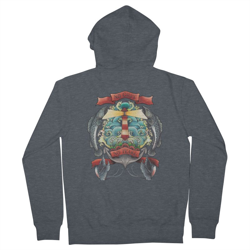 No Grit No Pearl Men's French Terry Zip-Up Hoody by Amu Designs Artist Shop