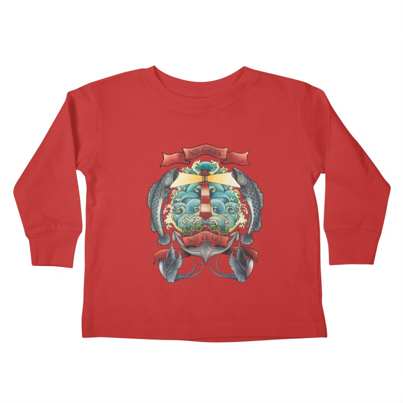 No Grit No Pearl Kids Toddler Longsleeve T-Shirt by Amu Designs Artist Shop