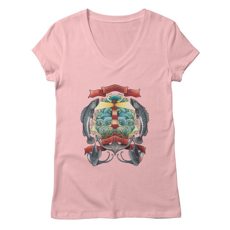 No Grit No Pearl Women's Regular V-Neck by Amu Designs Artist Shop