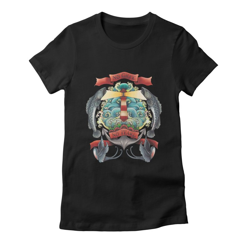 No Grit No Pearl Women's Fitted T-Shirt by Amu Designs Artist Shop