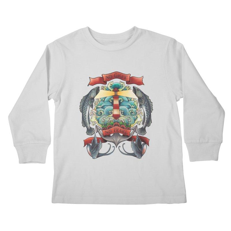 No Grit No Pearl Kids Longsleeve T-Shirt by Amu Designs Artist Shop