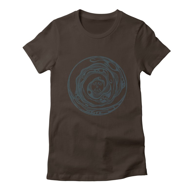 Seas The Day Teal Women's Fitted T-Shirt by Amu Designs Artist Shop