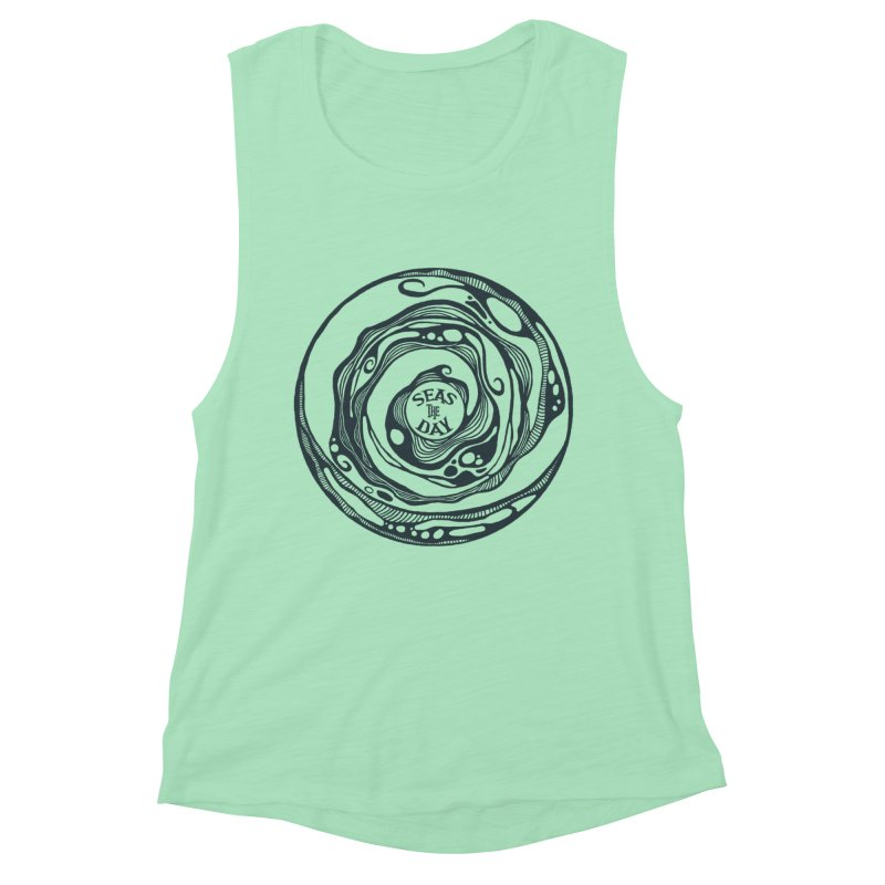 Seas The Day Teal Women's Muscle Tank by Amu Designs Artist Shop