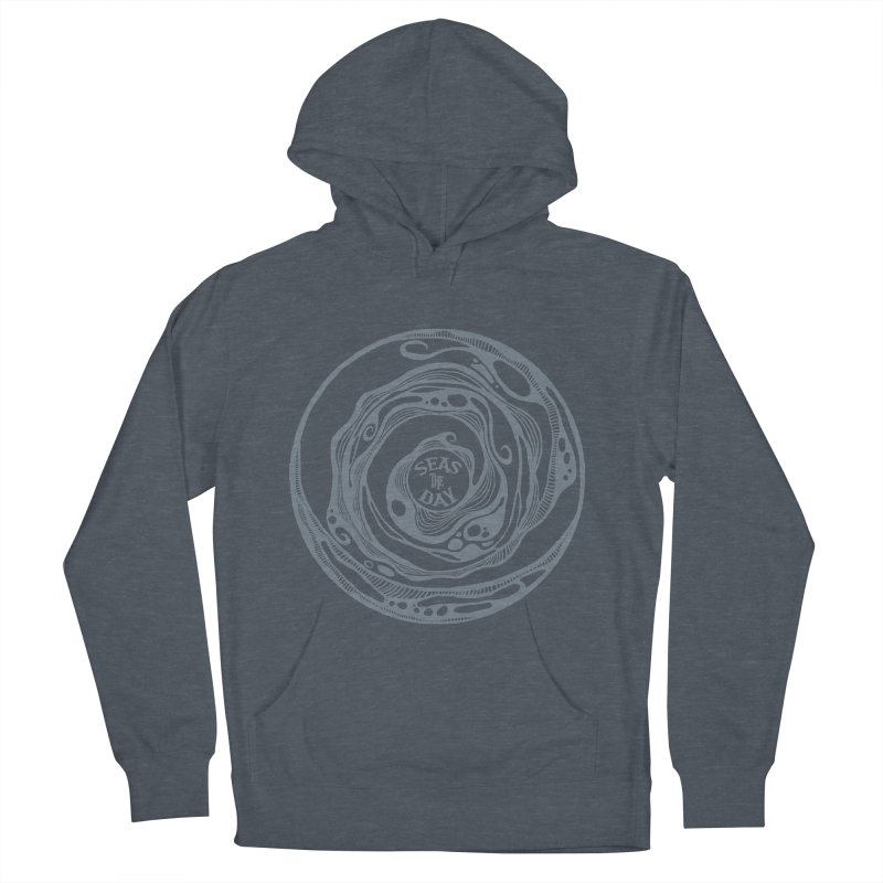 Seas The Day Light Grey Men's French Terry Pullover Hoody by Amu Designs Artist Shop