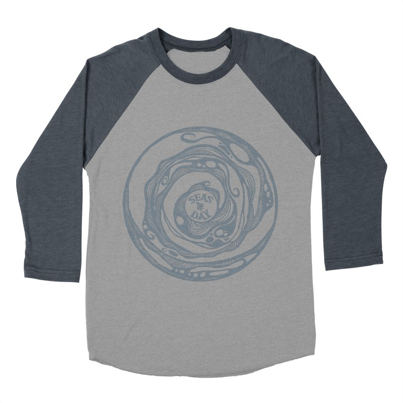 Seas The Day Light Grey Men's Baseball Triblend Longsleeve T-Shirt by Amu Designs Artist Shop