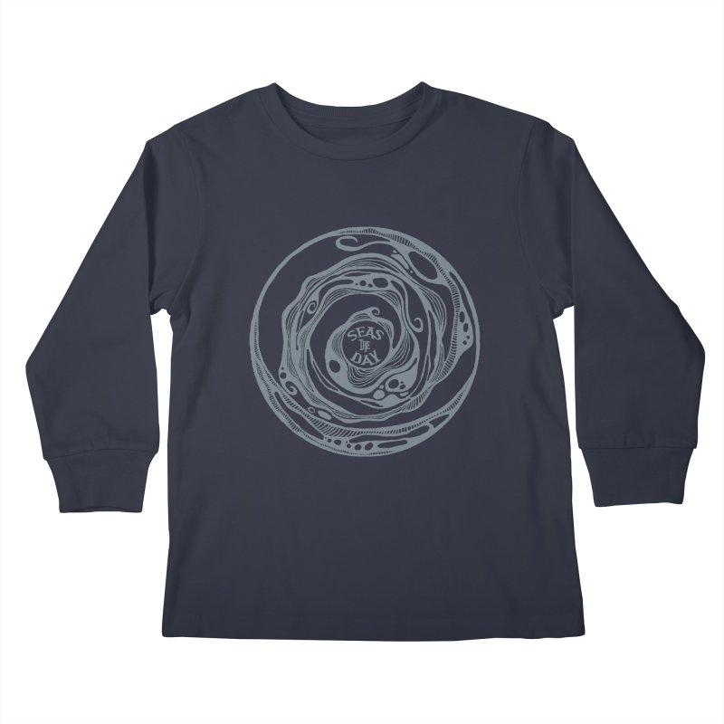 Seas The Day Light Grey Kids Longsleeve T-Shirt by Amu Designs Artist Shop