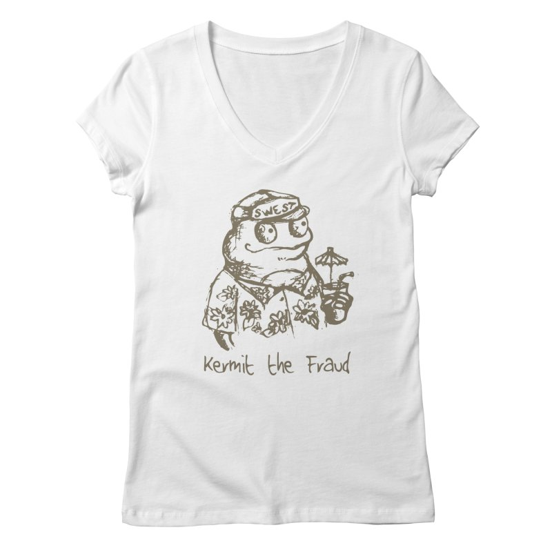 Fraudulent Frog Women's Regular V-Neck by amybelonio's Artist Shop