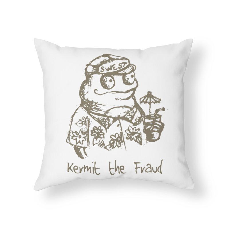 Fraudulent Frog Home Throw Pillow by amybelonio's Artist Shop