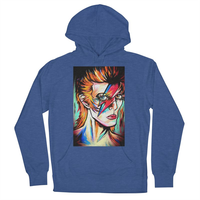 Ziggy Stardust Bowie Men's French Terry Pullover Hoody by amybelonio's Artist Shop