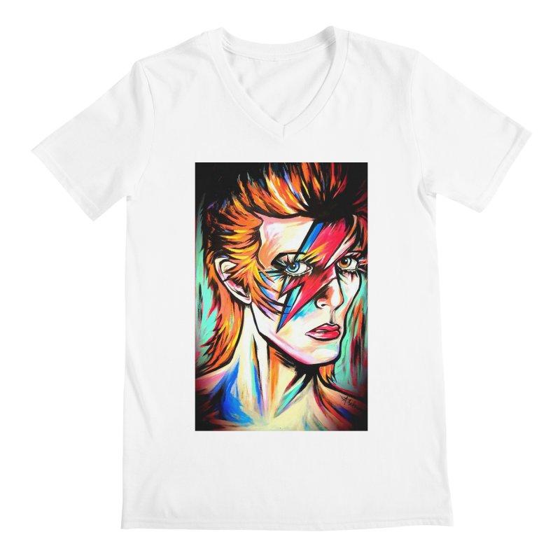 Ziggy Stardust Bowie Men's Regular V-Neck by amybelonio's Artist Shop