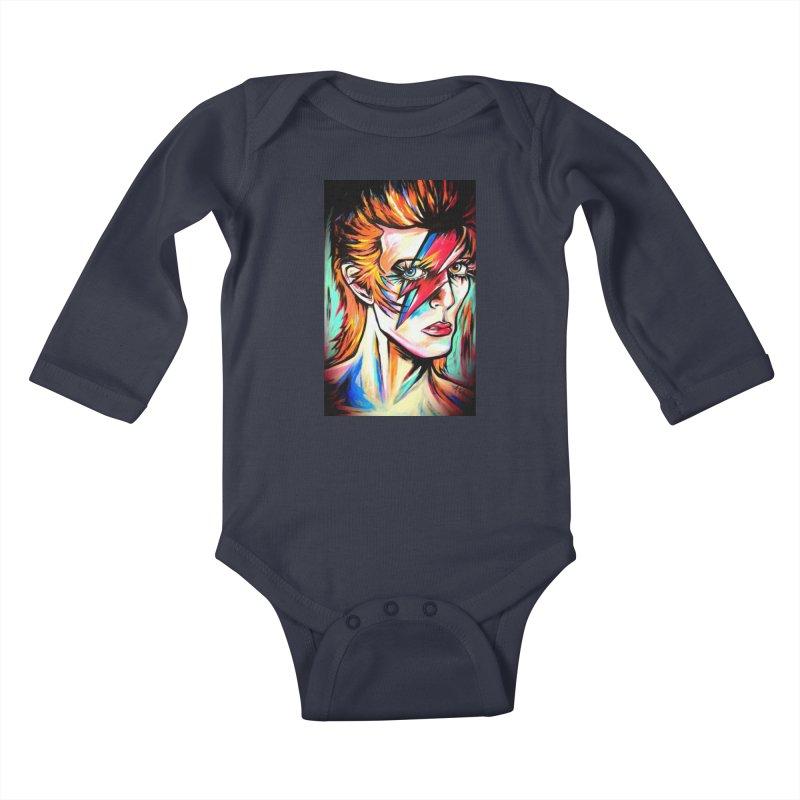 Ziggy Stardust Bowie Kids Baby Longsleeve Bodysuit by amybelonio's Artist Shop