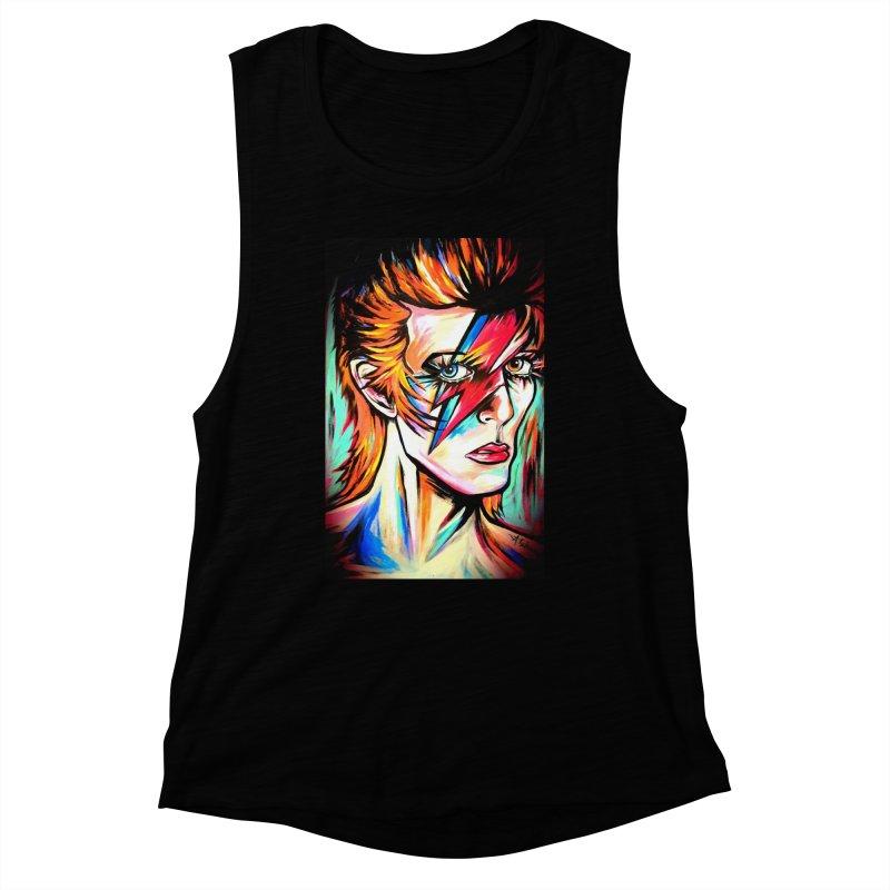 Ziggy Stardust Bowie Women's Muscle Tank by amybelonio's Artist Shop