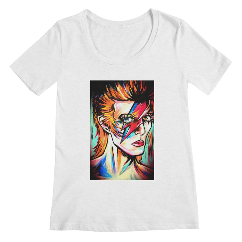 Ziggy Stardust Bowie Women's Regular Scoop Neck by amybelonio's Artist Shop