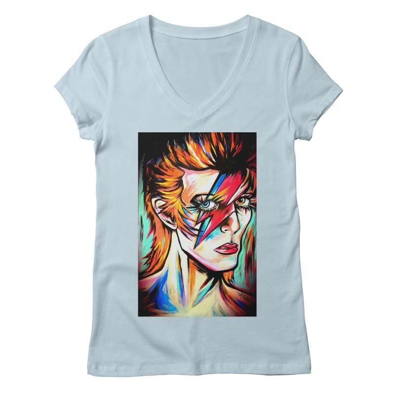 Ziggy Stardust Bowie Women's Regular V-Neck by amybelonio's Artist Shop