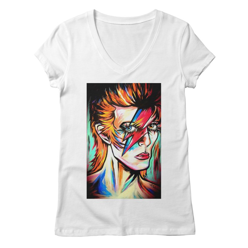 Ziggy Stardust Bowie Women's Regular V-Neck by amybelonio's Artist Shop