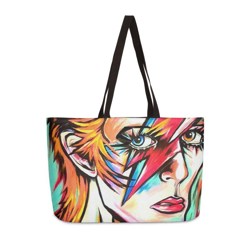 Ziggy Stardust Bowie Accessories Weekender Bag Bag by amybelonio's Artist Shop
