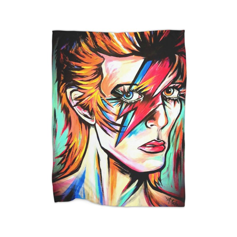 Ziggy Stardust Bowie Home Fleece Blanket Blanket by amybelonio's Artist Shop