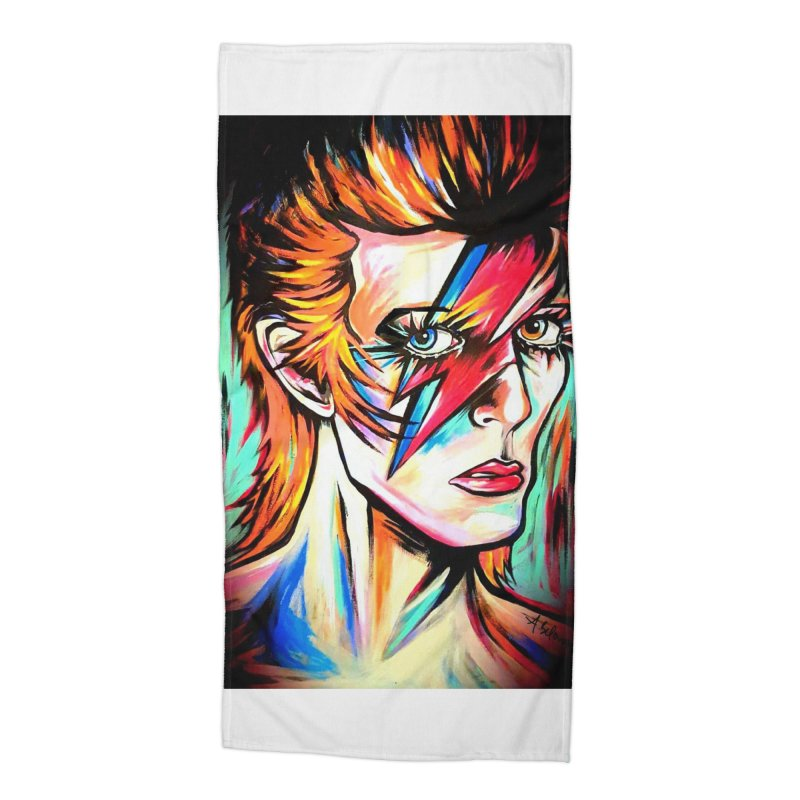 Ziggy Stardust Bowie Accessories Beach Towel by amybelonio's Artist Shop