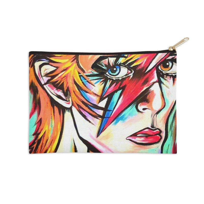 Ziggy Stardust Bowie Accessories Zip Pouch by amybelonio's Artist Shop