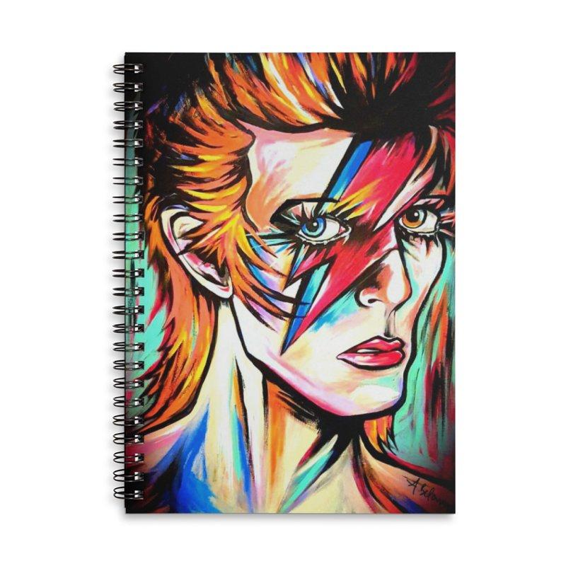Ziggy Stardust Bowie Accessories Lined Spiral Notebook by amybelonio's Artist Shop
