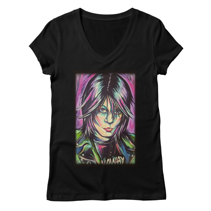 Joan Jett Women's Regular V-Neck by amybelonio's Artist Shop